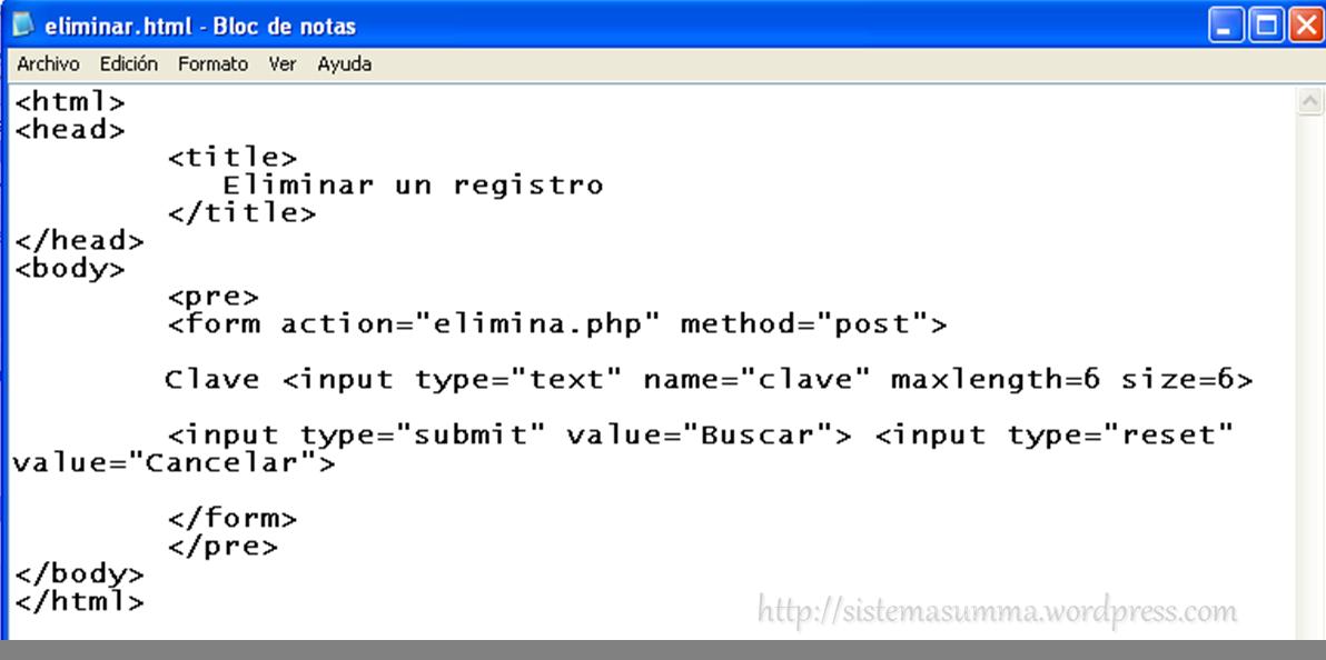 Programaci n b sica con php eliminar registros sistemasumma for En programacion dato que no cambia su valor