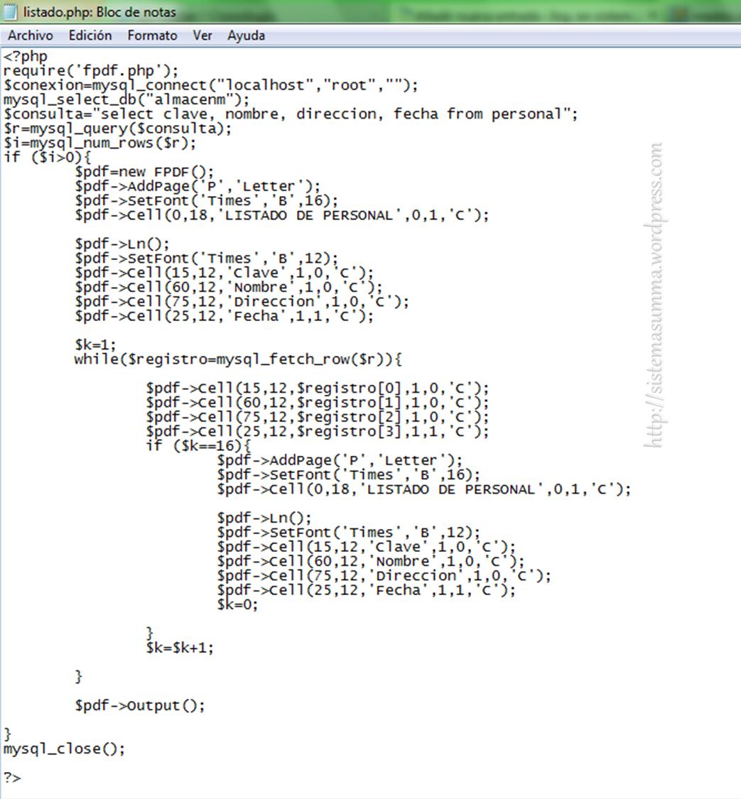Programación basica con php (listado con fpdf) | Sistemasumma