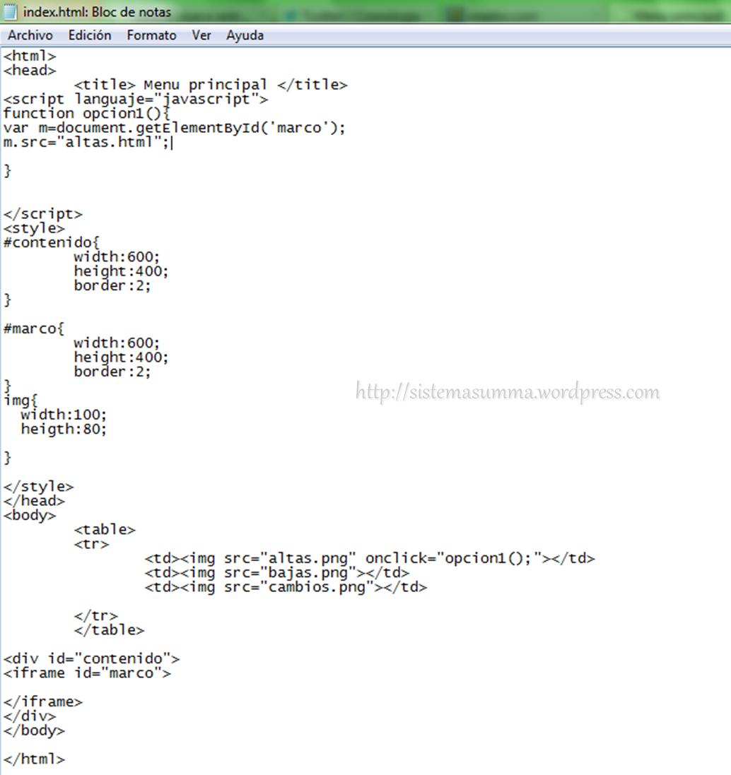 Programación básica con php (creando el menu) | Sistemasumma