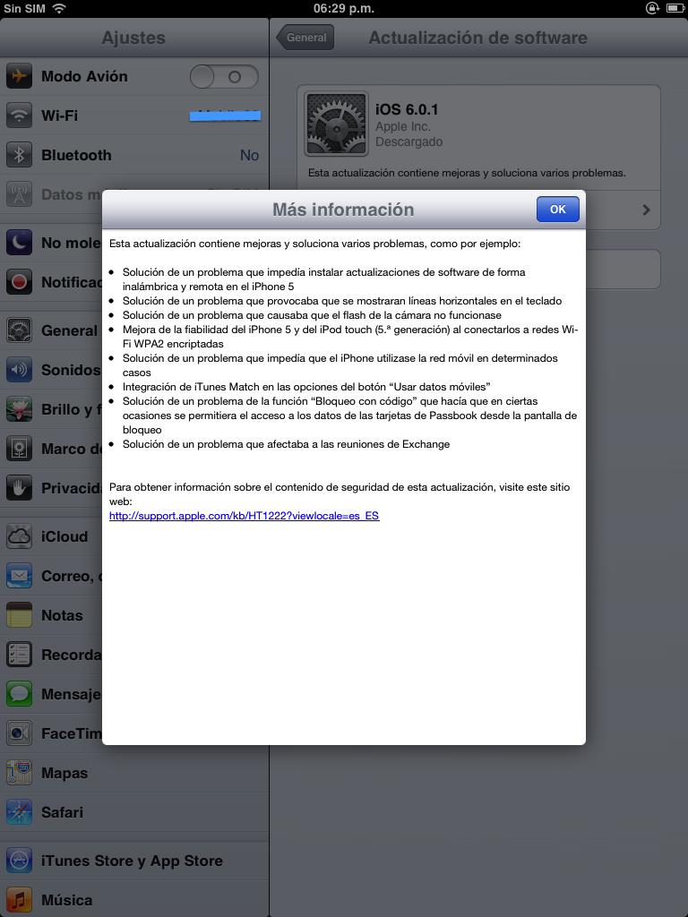 Actualizacion iOS 6.0.1