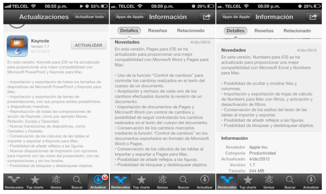 Novedades de iWork para iOS