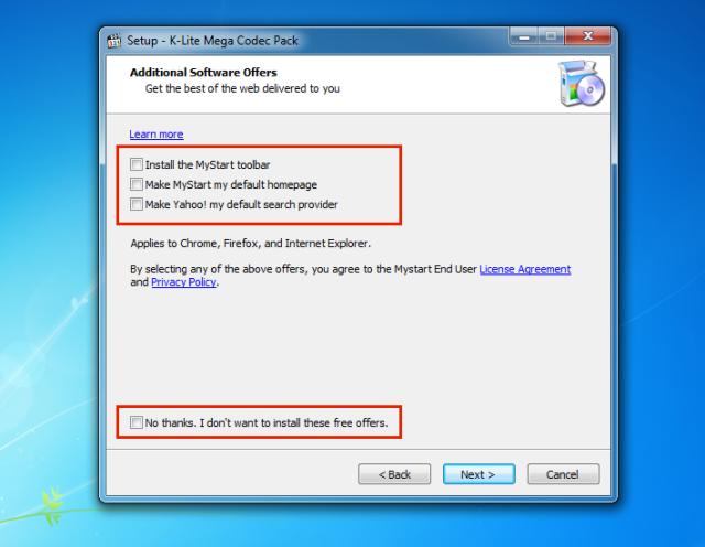 OJO por último asegurense de que las casillas no esten marcadas, para que no se instale ningun otro programa (malware) en nuestra computadora.