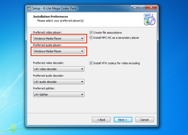Seleccionar Windows Media Player en las preferencias de Audio y Video