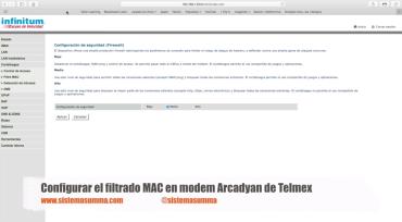 Configurar Filtrado MAC en modem Arcadyan de Telmex