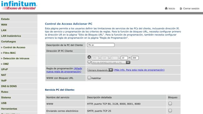 Crear horario de uso de Internet en modem Arcadyan VRV9519